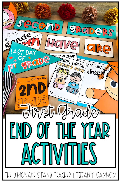 Looking for first grade end of the year activities?!  This fun end of the year pack has all you need to finish the year with lots of fun!  End of the year pennant flags for last day photos, memory book, anchor chart pieces, student hats, a graduation craft, and more!  Click here to read more about it!