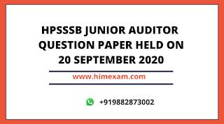 HPSSSB Junior Auditor Exam Question Paper Held on 20 September 2020