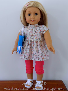 Classic T-shirt dress made from doll clothes pattern 1801