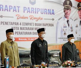 4 Raperda Kota Mataram Disetujui Dalam Sidang Paripurna DPRD kota Mataram