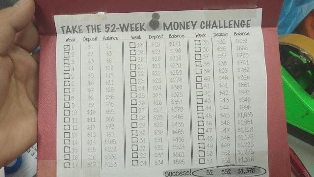 52 Weeks Money Saving Challenge, cabaran simpanan 52 minggu, cara menyimpan dengan mudah, cara simpan duit dengan mudah, cara mendisiplinkan diri untuk menyimpan, simpan duit mudah, saving, tips simpan duit, money saving tips, money saving challenge, cara mudah menyimpan duit, mudahnya menyimpan duit, belajar meyimpan duit, duit, money, perancangan kewangan, money plan,