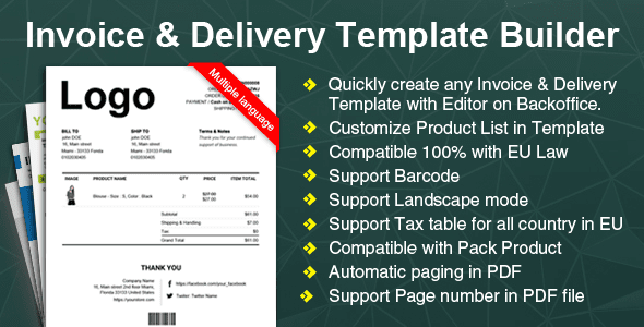 Free Download Invoice Woocommerce Delivery Template Builder WP Plugin