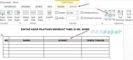 tutorial cara membuat tabel di microsoft word 2007