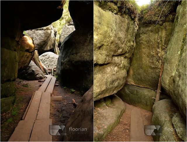 """Różnorodne formy skalne w Błędnych Skałac na Dolnym Śląsku - """"Kurza Stopka"""", """"Skalne Siodło"""", """"Wielka Sala"""", """"Labirynt"""" oraz """"Tunel""""."""