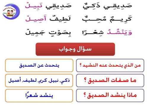 شرح نشيد صديقى للصف الثاني الابتدائي ترم أول 2020 أ/ حسام أبو أنس 4