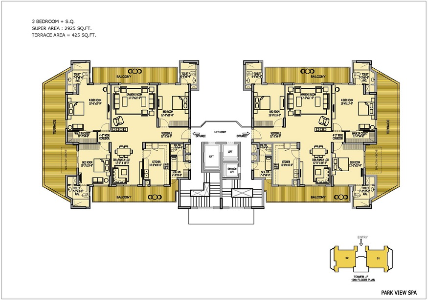 Floor Plan of Ready to Move 3 BHK + SR / 2925 Sq.Ft. Luxury Apartments in Bestech ParkView Spa, Sector-47, Gurgaon