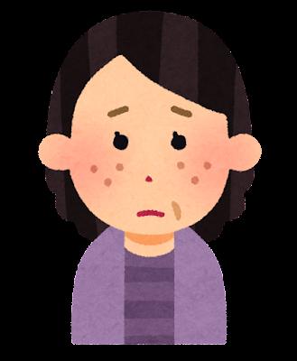 ニキビ顔のイラスト(中年女性)