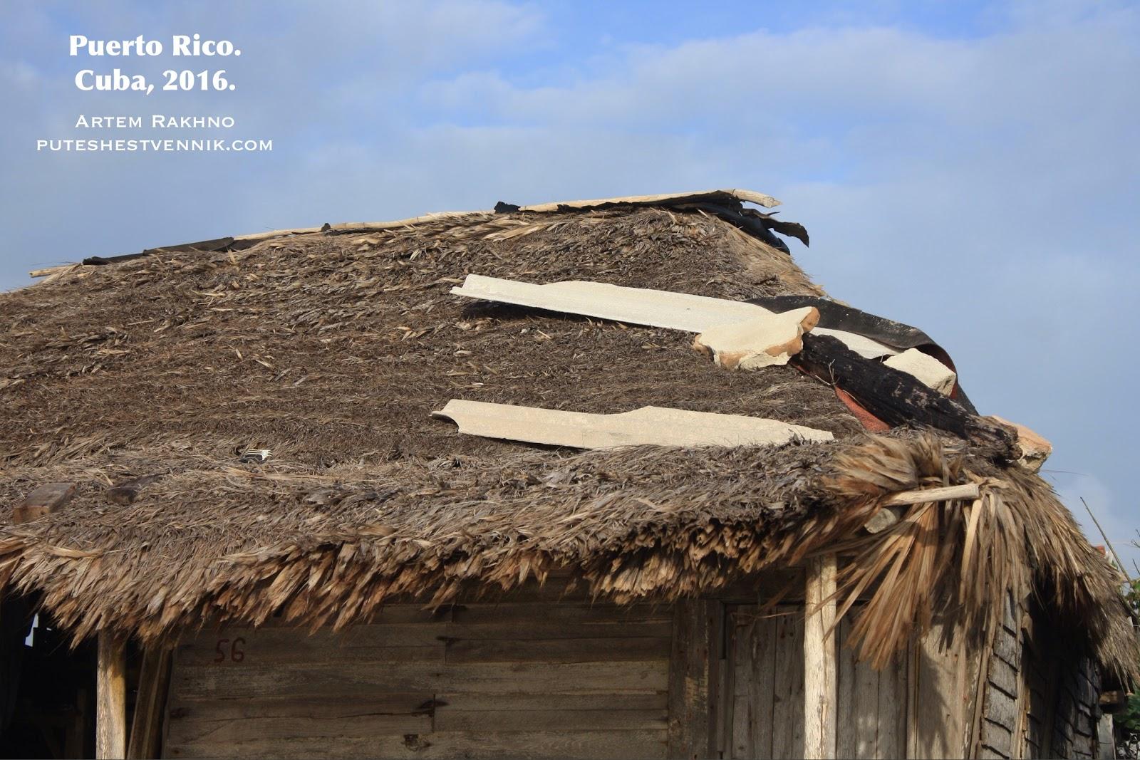 Крыша из пальмовых листьев у дома на Кубе
