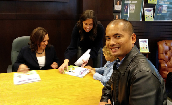 About to get an autograph by Kamala Harris (currently U.S. Senator) at the Barnes & Noble bookstore at The Grove in Los Angeles...on January 13, 2019.