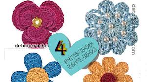 Patrones de flores crochet con gráfico y explicación en español