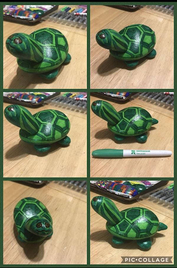 rock painting idea - make a painted rock turtle sculpture