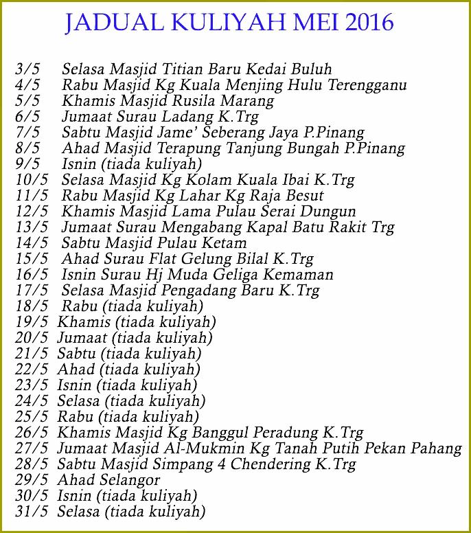 Jadual Kuliah UAI mei 2016