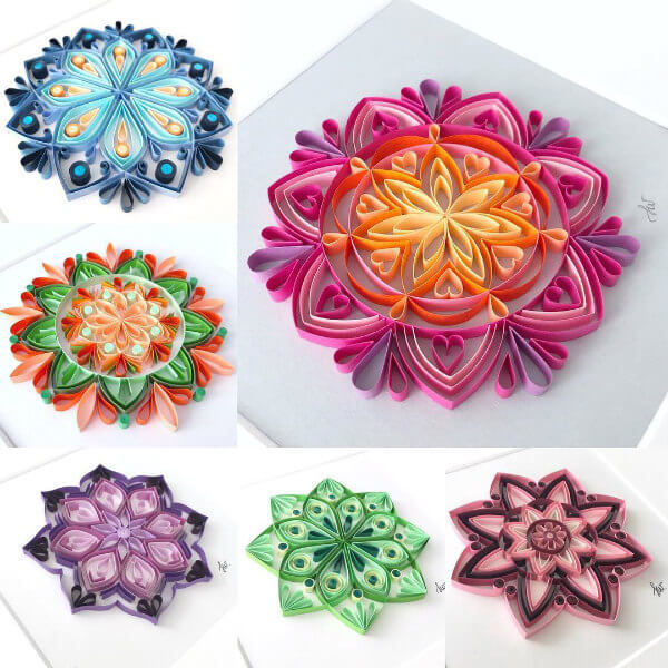 collage of six quilled mandalas