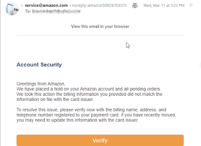 Sample of a phishing email