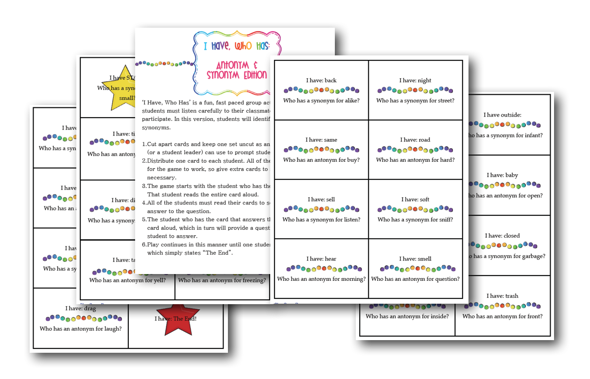 I Have. Who Has for Antonyms and Synonyms - Classroom Freebies