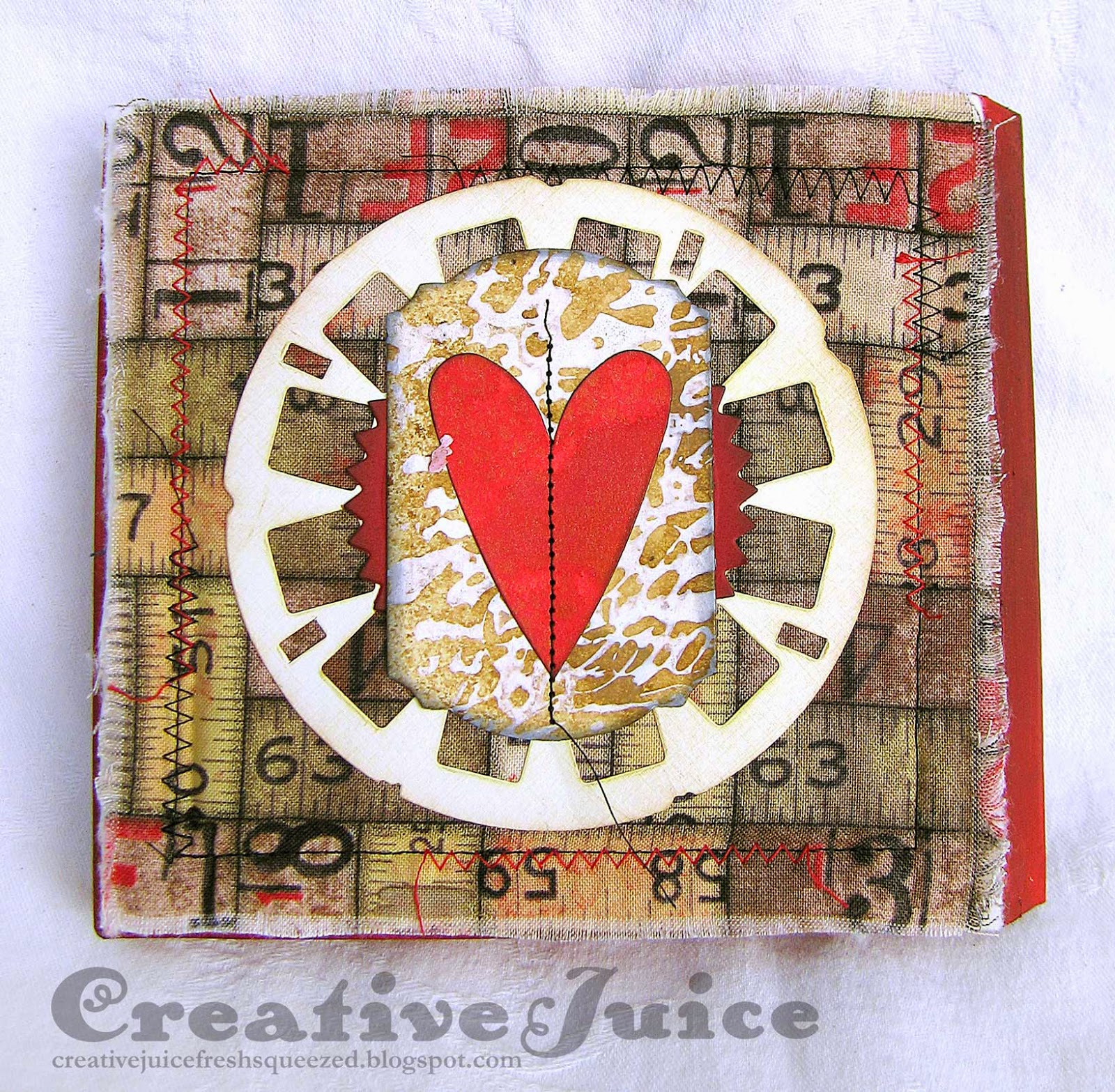 Compendium of Curiosities 3 Challenge #19 – Frayed Fabric Valentine