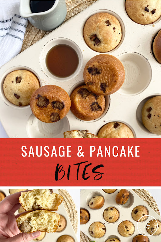 Sausage & Pancake Bites...breakfast in one bite! The great combo of pancakes and sausage in muffin form - dip them into maple syrup while warm. Kids loves this recipe!