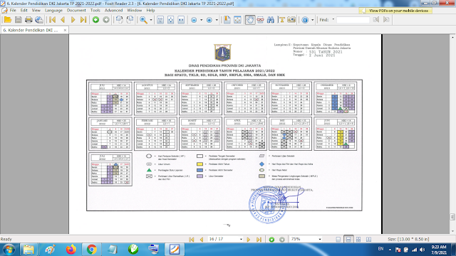Download Kalender Pendidikan Tahun Pelajaran 2021/2022 Dinas Pendidikan Provinsi DKI Jakarta