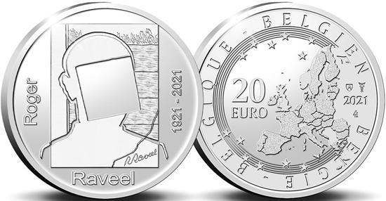 Belgium 20 euro 2021 - 100th Birth Anniversary of Roger Raveel