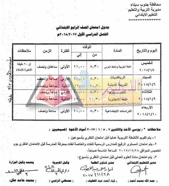 جدول امتحان نصف العام جنوب سيناء 2018 الصف الرابع الابتدائي