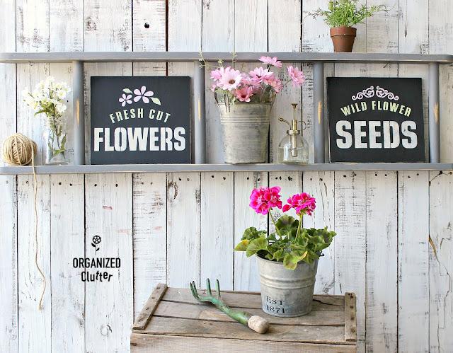 The Best Of Organized Clutter 2019 #stencil #DIY #Upcycle #Repurpose #Gardenjunk #junkgarden #gardentour #oldsignstencils #dixiiebellepaint #fusionmineralpaint #hobbylobby #garagesalefinds #thriftshopmakeovers