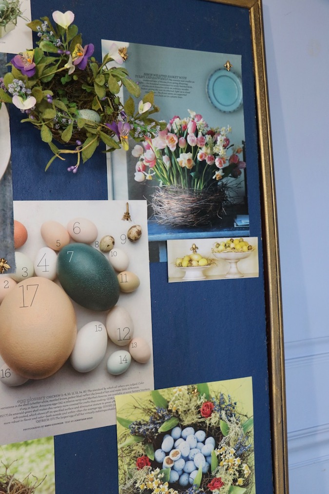 Bulletin Board Inspiration No. 1 of baskets, eggs, wreaths includes suggestion for how to create your own inspiring bulletin board