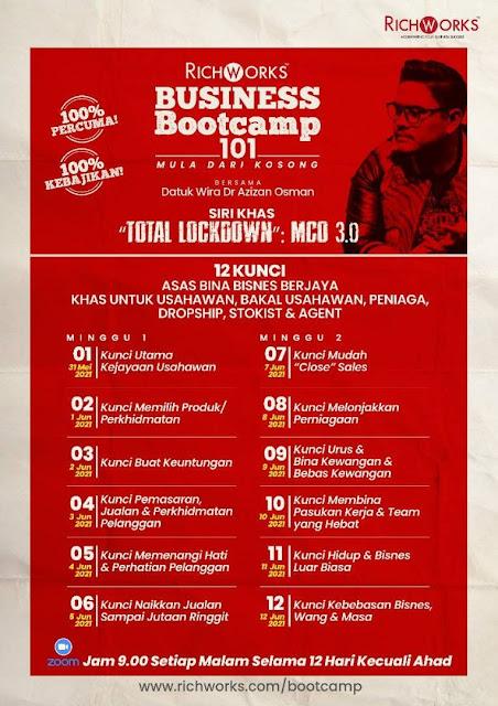 Dah Hari Ke 7 Business Boot Camp 101 Percuma Datuk Wira Dr. Azizan Osman