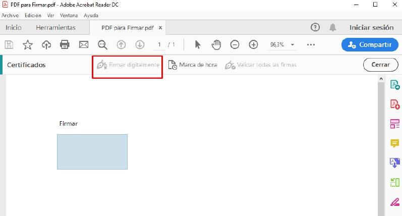 Cómo firmar un PDF con certificado digital