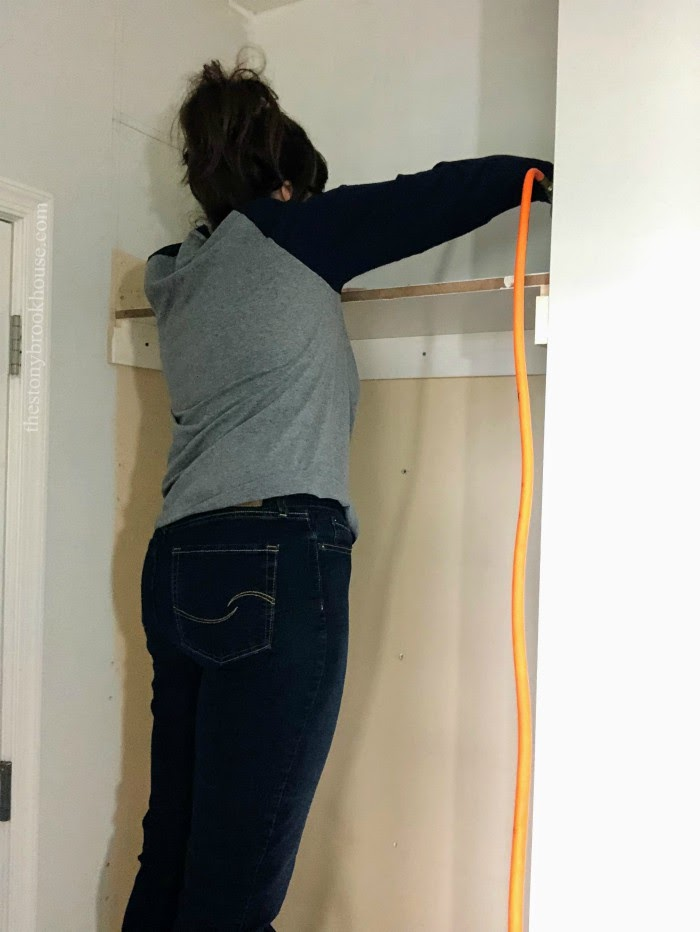 Nailing Mudroom Cubbies