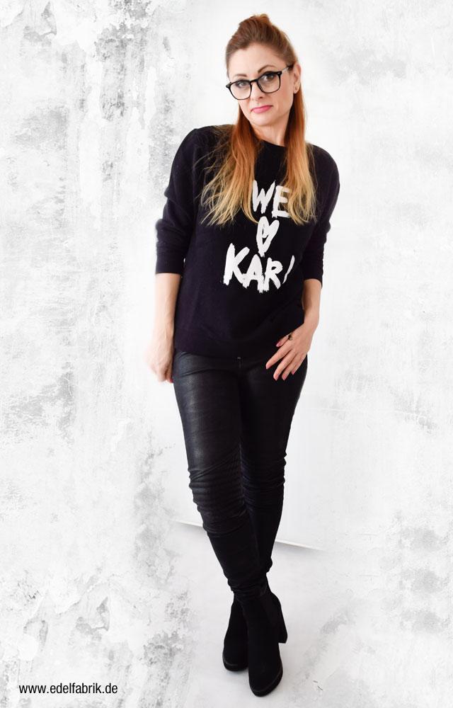 Schwarz mit schwarz kombinieren, Karl Lagerfeld Sweatshirt, We Love Karl