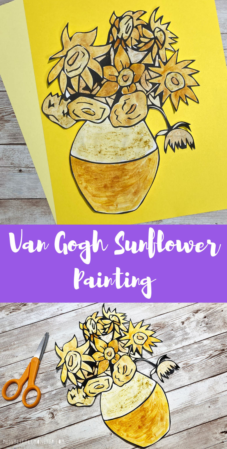 Van Gogh flower painting. Sunflower painting with spices. Van Gogh for kids.