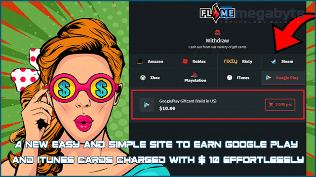 A new easy and simple site to earn Google Play and iTunes cards charged with $ 10 effortlessly