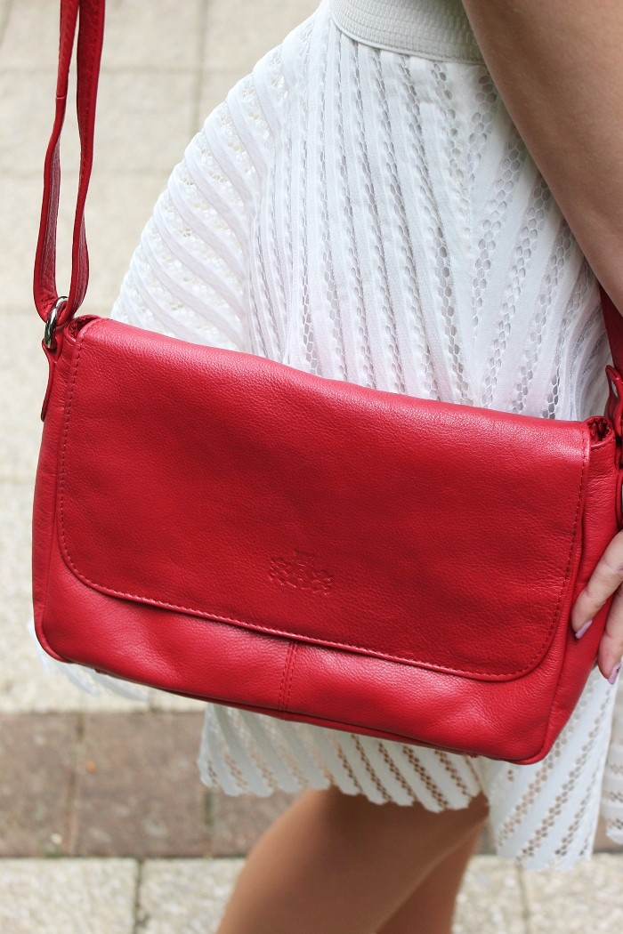 leather cross-body bag, leather bag, leather red bag, red handbag