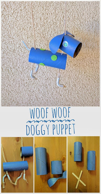Kids Craft, kids crafts, animal craft, dog craft, fun craft, easy craft, kids activities, puppet, toddler, toilet roll craft, recycle, reuse, upcycle, paper roll craft,