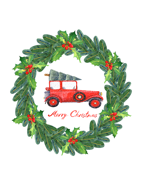 holly wreath red berries red jalopy Christmas tree