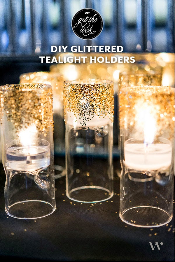 Un wedding DIY o tutorial de manualidades para boda, decorar porta velas con purpurina
