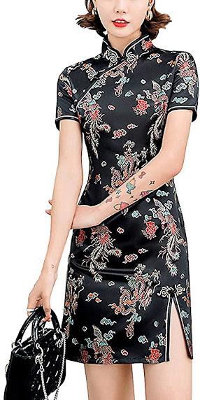 Black Short Qipao Cheongsam Dresses