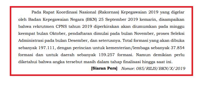 PENDAFTARAN CPNS TAHUN 2019 DIRENCANAKAN BULAN NOVEMBER 2019
