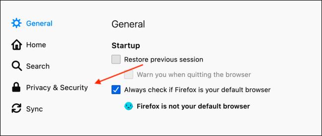انتقل إلى الخصوصية والأمان في تفضيلات Firefox