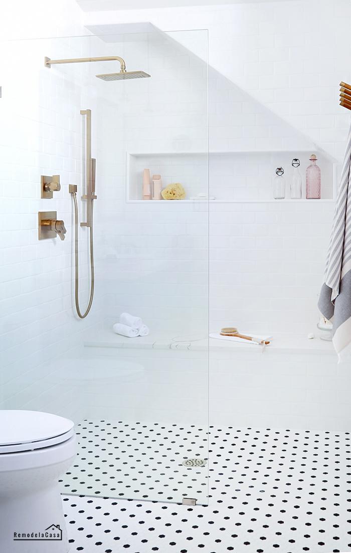 Walk-in shower  with Delta Vero shower head