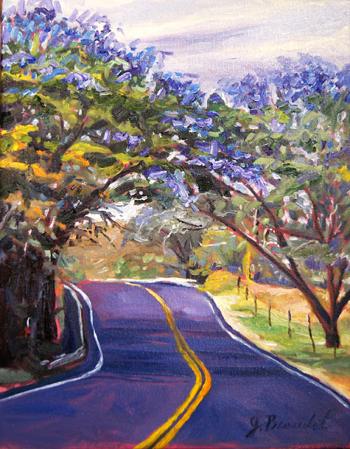 maui oil painting, upcountry jacaranda trees, oil painting by Jennifer Beaudet Art, JBeaudet, J Beaudet Art, artist, Beaudet art, Jennifer Beaudet Zondervan