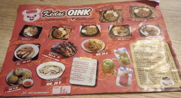 Kuliner kedai Oink mekar wangi bandung