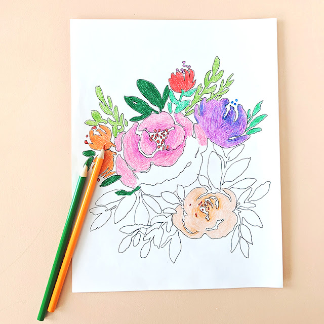 Free Flowers Coloring Pages from Elise Engh Studios