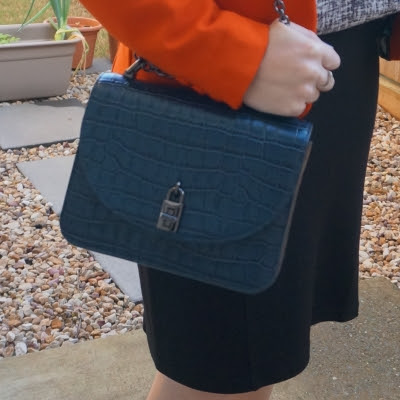 orange blazer with Rebecca Minkoff Love Too in deep teal croc embossed leather | awayfromtheblue