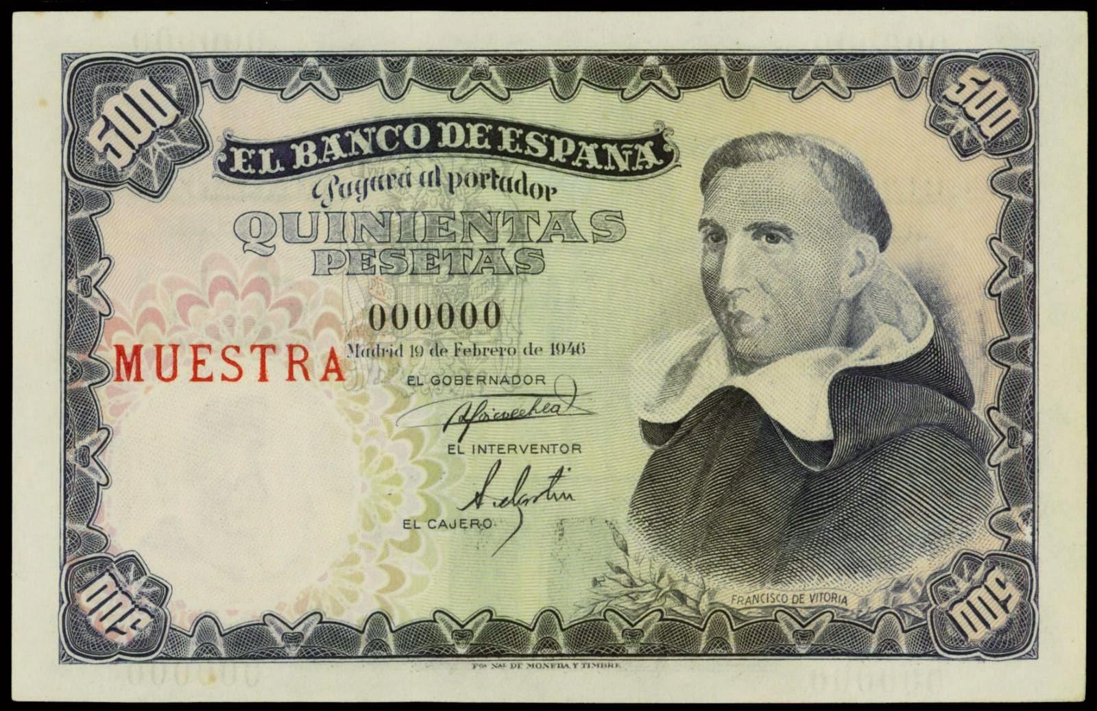 Spain banknotes 500 Pesetas note 1946 Francisco de Vitoria