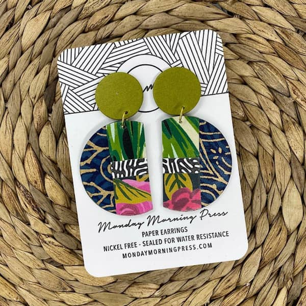 brightly colored, semi-circle paper statement earrings