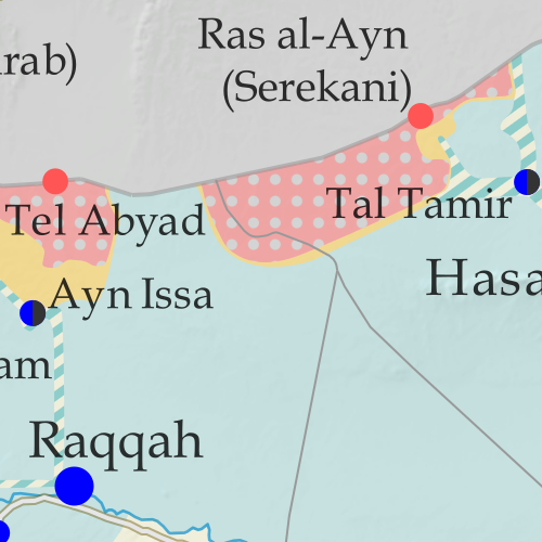 Map of Syrian Civil War (Syria control map): Territorial control in Syria in October 2019 (Free Syrian Army rebels, Kurdish YPG, Syrian Democratic Forces (SDF), Hayat Tahrir al-Sham (HTS / Al-Nusra Front), Islamic State (ISIS/ISIL), and others). Includes Turkish control, joint SDF-Assad control, US deconfliction zone, and Turkey-Russia demilitarized buffer zone, plus recent locations of conflict and territorial control changes, including Ras al-Ayn, Tel Abyad, Ayn Issa, and more. Colorblind accessible.