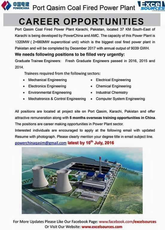 Jobs For Fresh Engineers At Port Qasim Coal Fired Power