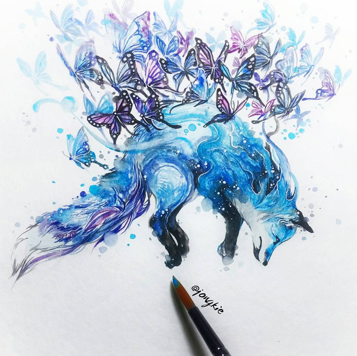 13-Have-a-Nice-Dream-Luqman Reza jongkie-Painting-Fantasy-worlds-with-Flowing-Watercolor-Animals-www-designstack-co