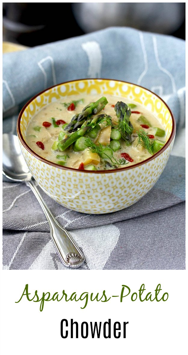 Asparagus-Potato Chowder with dill and hot sauce